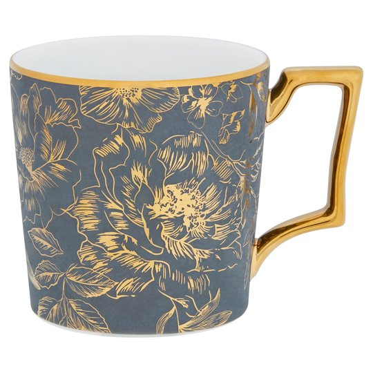 Fox & Ivy Gold Floral Grey Mug
