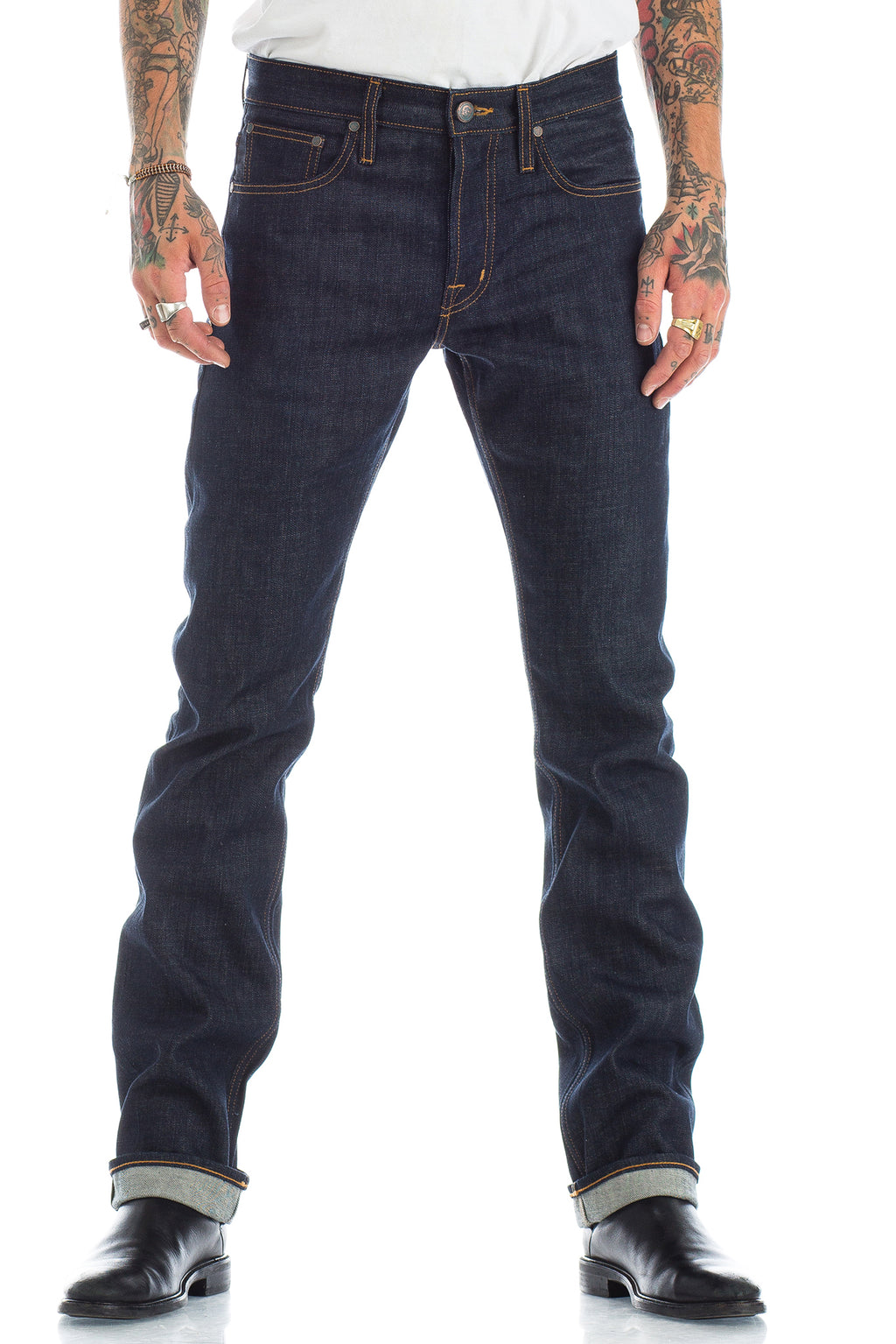 The perfect raw medium slim fit indigo jean. Asbury Park crafts traditional 5-Pocket American Made Denim with an emphasis on comfort, fit and old-world craftsmanship. The creative grit, the 'anything goes' mentality, the rock and roll lifestyle are all elements breathed into every piece of the collection.
