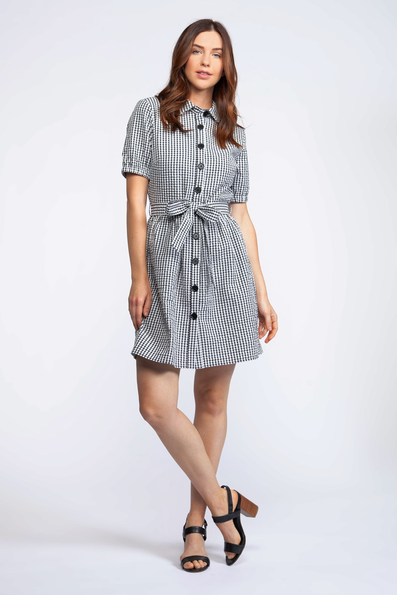 Short Sleeve Button Front Short Dress