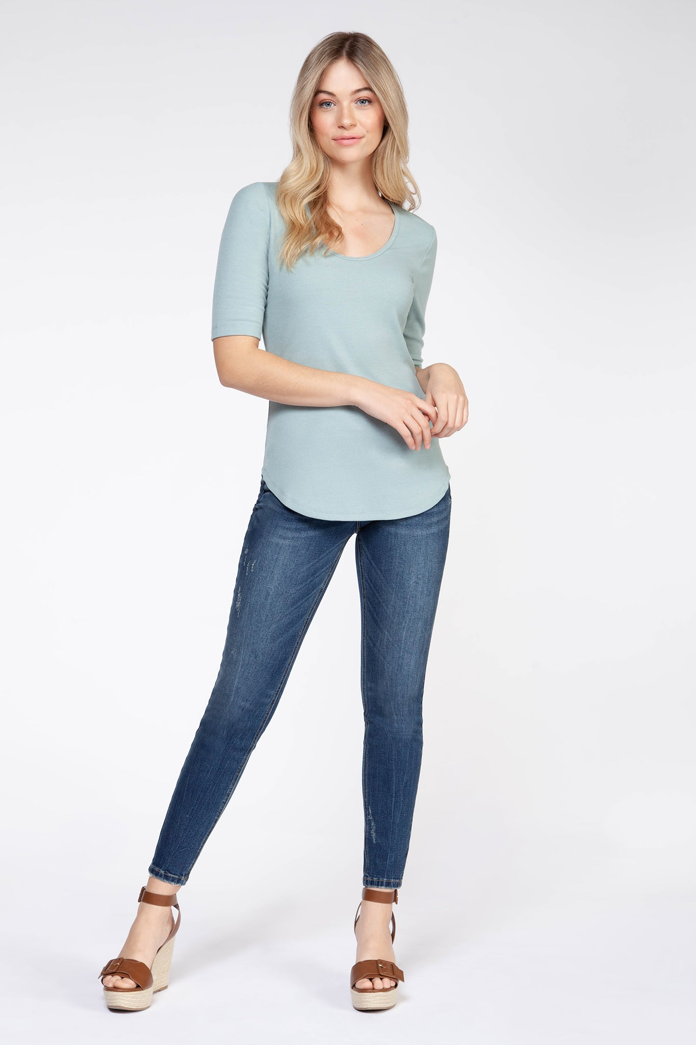 Short Sleeve Round Neck Ribbed Tee