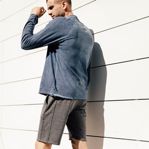 The Pacific Knit Shorts in grey are comfortable. Crafted, yes crafted, with breathable poly/rayon fleece fabric. This signature Mitchell Evan shorts speak for themselves, designed equally for training to lounging. Body: 61% Poly, 34% Rayon, 5% Spandex. Rib: 62% Poly, 33% Rayon, 5% Spandex. Machine wash cold, delicate cycle, line dry. Made in America, 100% in Los Angeles.