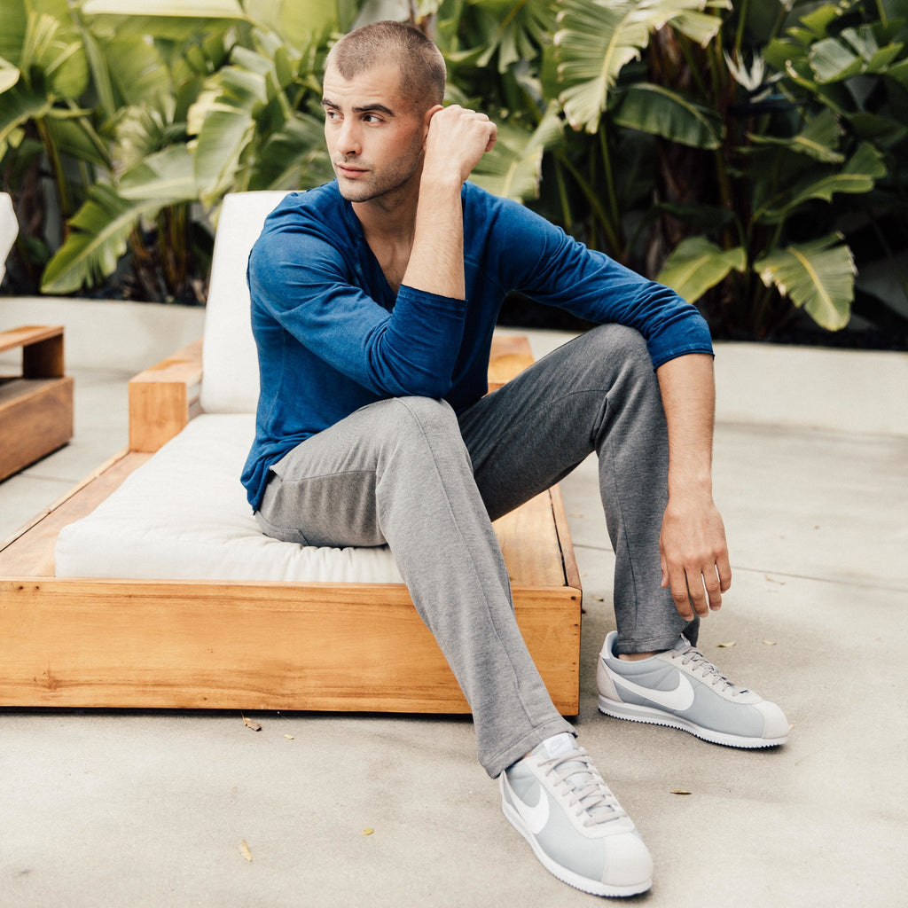 These are Mitchell Evan Portland Pintuck Sweatpants in grey. The simple frontal seam has a casual modern elegance, not to be confused with the Edwardian decadence of distant yesteryear. It is more of a 70s throwback, adding the appearance of sophisticated fun to your weekend loungewear or, possible midweek office wear, lol. Body: 61% Poly, 34% Rayon, 5% Spandex. Machine wash cold, delicate cycle, line dry. Made in America, 100% in Los Angeles.