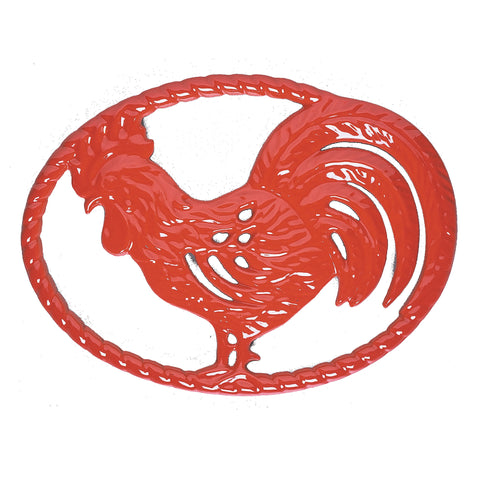 Chasseur 11-inch Flame Red Cast Iron Rooster Trivet (CI_1076)