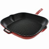 Chasseur 10-inch Red Square French Enameled Cast Iron Grill Pan (CI_3150)