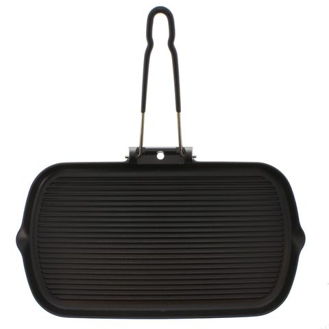 Chasseur 14-inch Rectangular French Cast Iron Grill With Folding Handle (CI_32702)
