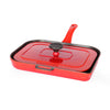 Chasseur 10-inch French Enameled Cast Iron Panini Press Red and Blue (CI-3380)