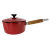 Chasseur 2.5-quart Red French Enameled Cast Iron Saucepan With Lid and Wooden Handle (CI_3483)
