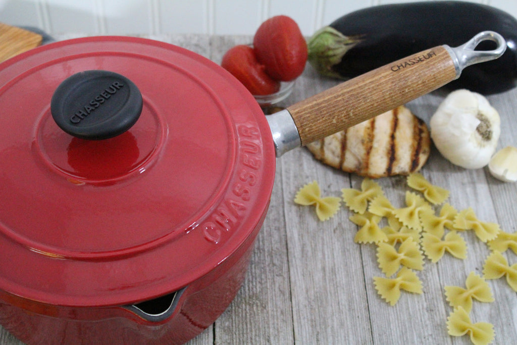 Chasseur 25 Quart Red French Enameled Cast Iron Saucepan With Lid