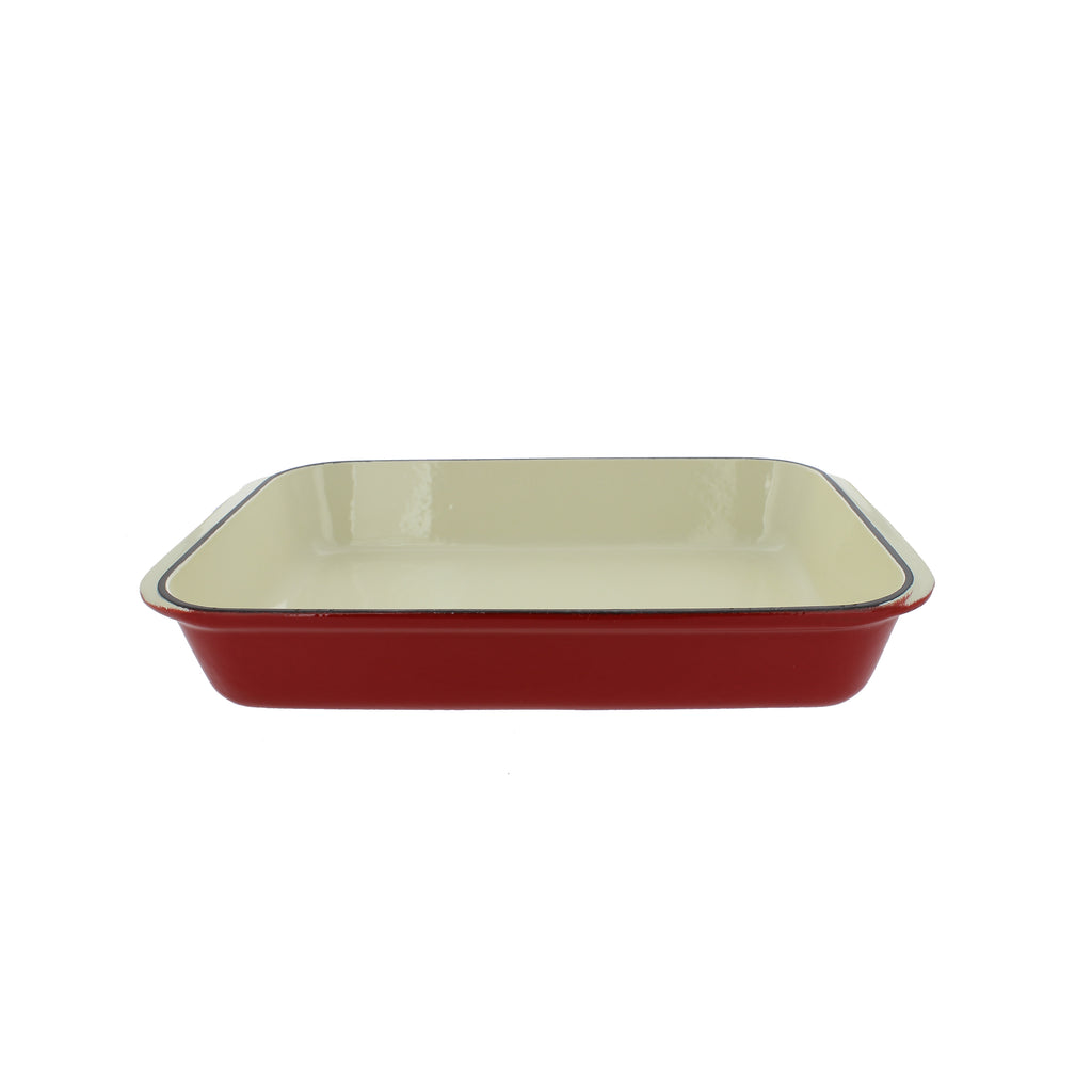 "Chasseur 13"" x 8"" Red French Enameled Cast Iron Rectangular Roaster (CI_3542)"