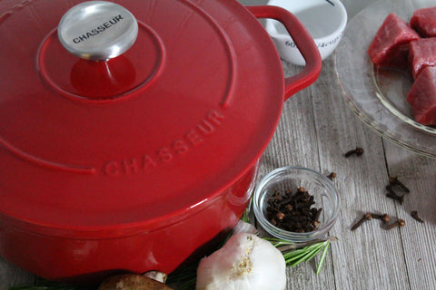 Chasseur 3.25-quart Caviar-Grey or Red Enameled Cast Iron Round Dutch Oven (CI_3722)