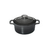 Chasseur French Enameled Cast Iron 1-quart Round Dutch Oven, Caviar Grey