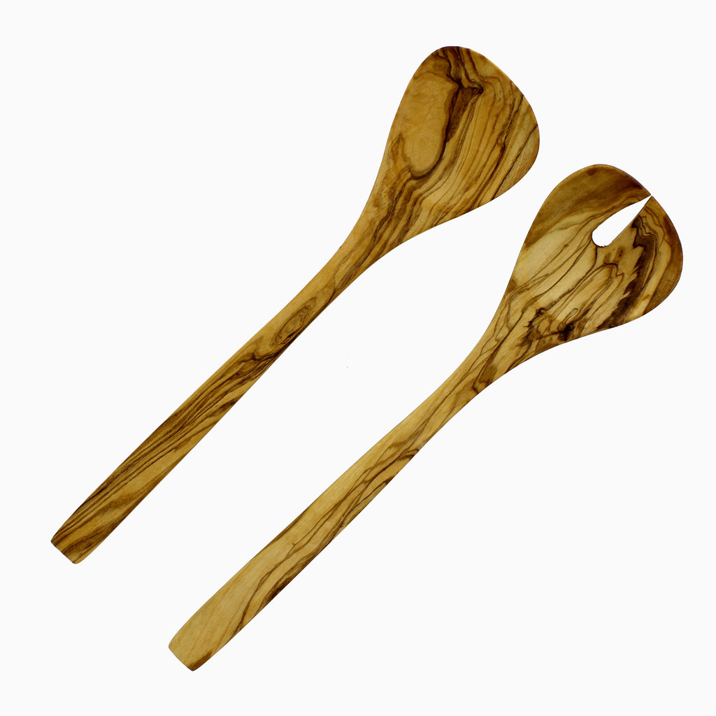 "French Home Olive Wood Set Salad servers - Tear drop - 12"" x 2.75"" (D14)"