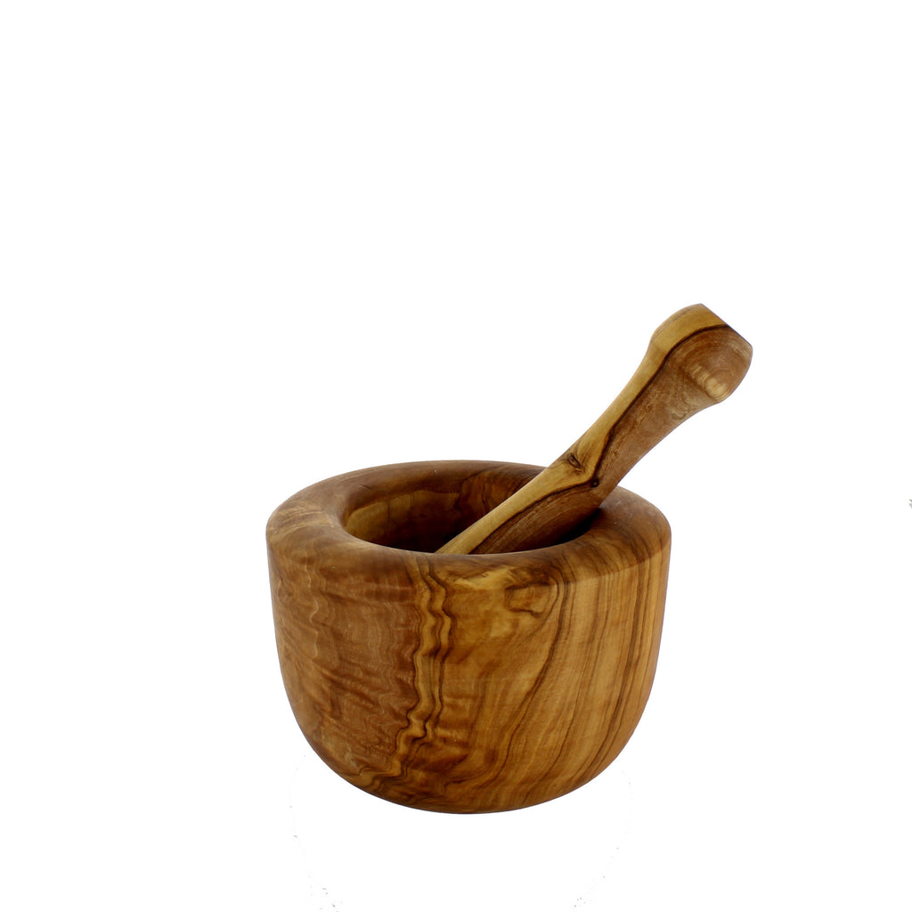 "French Home Olive Wood Pestle 6"" & Mortar 3"" x 5"" (D24)"