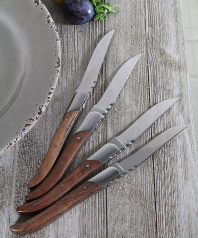 French Home Set of 4 Laguiole Connoisseur Rosewood Steak Knives - LG002