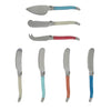 French Home 7 Piece Laguiole Cream, Coral and Turquoise Cheese Knife and Spreader Set (LG033)