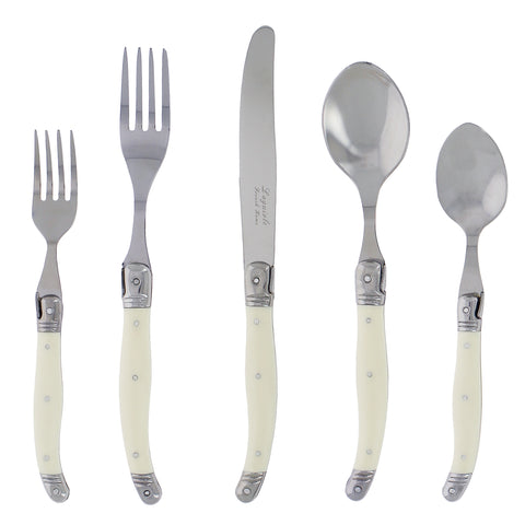 20 Piece Laguiole Faux Ivory Flatware Set by French Home (LG120)