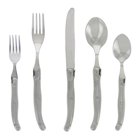 French Home Laguiole 20 Piece Stainless Steel Flatware Set, Service for 4, Stainless Steel Handles (LG126)