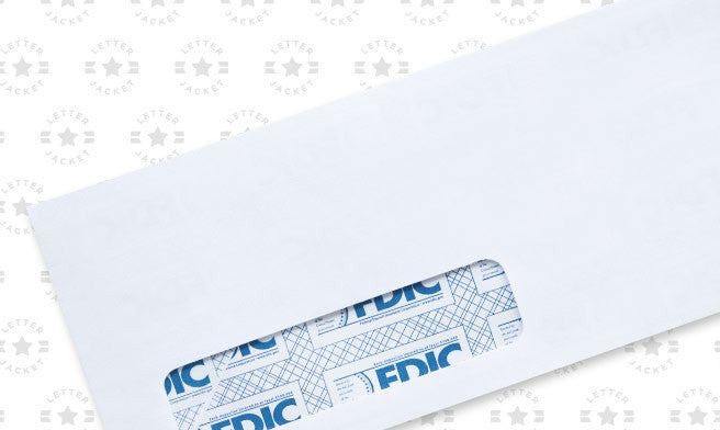 #10 Standard Window Envelope Blue FDIC Security Tint with Regular Gum (custom printed or plain)