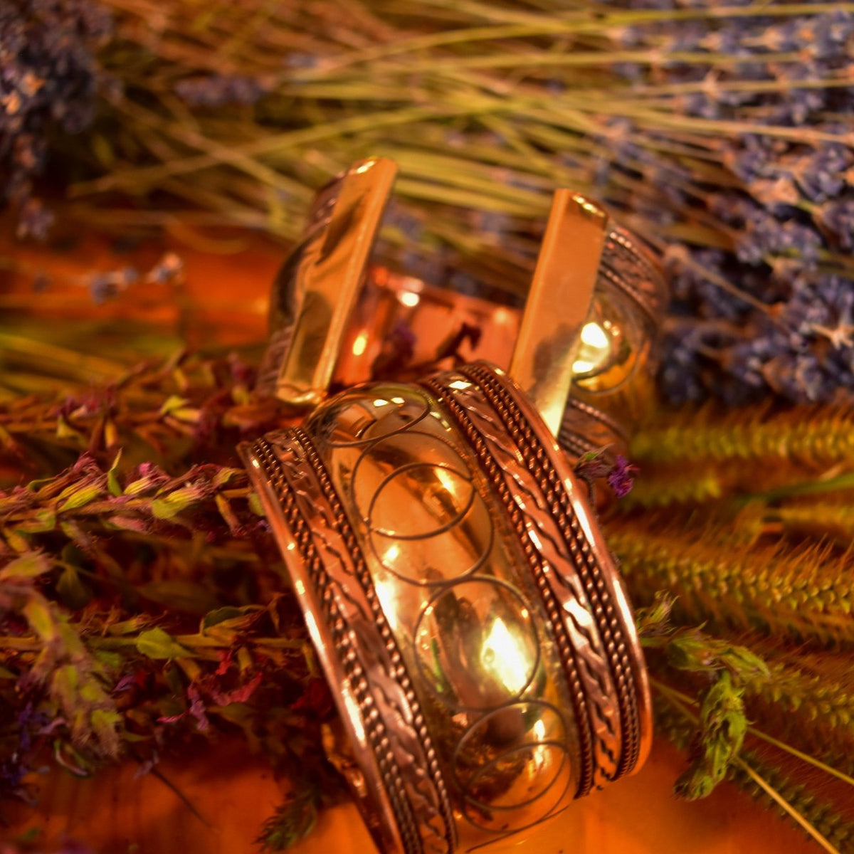 Copper + Brass Moon Phase Goddess Cuff