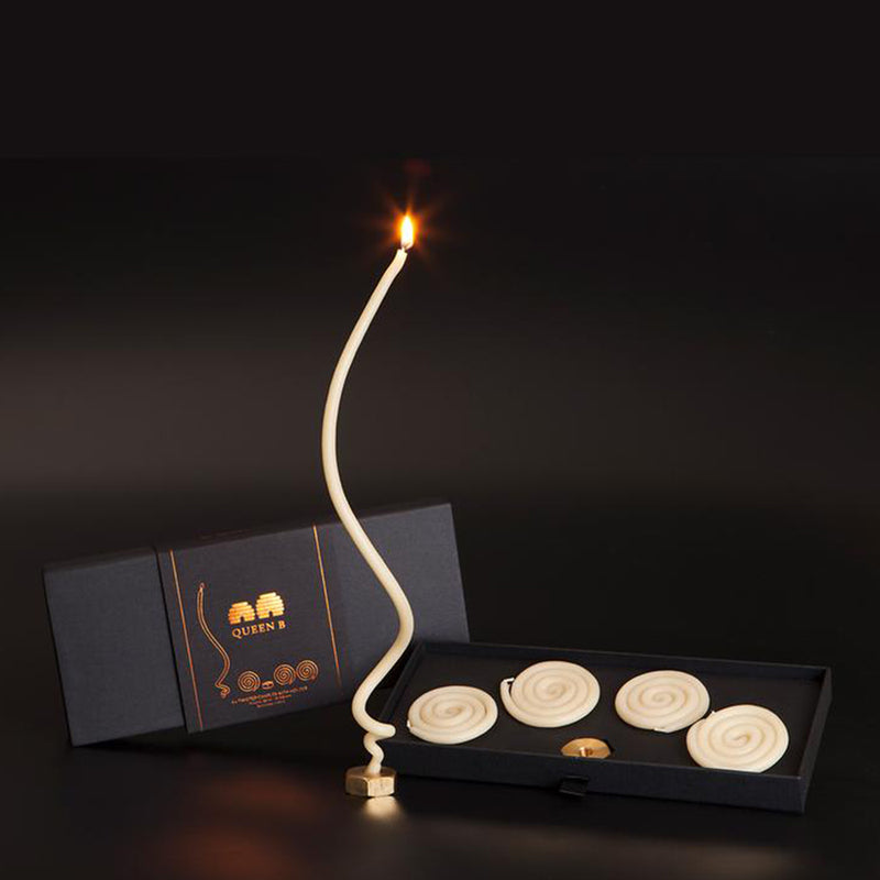 Black Label Twisted Candles + Brass Holder