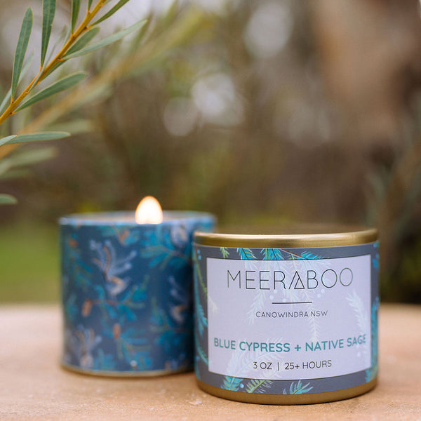 Candle Travel Tin Blue Cypress + Native Sage