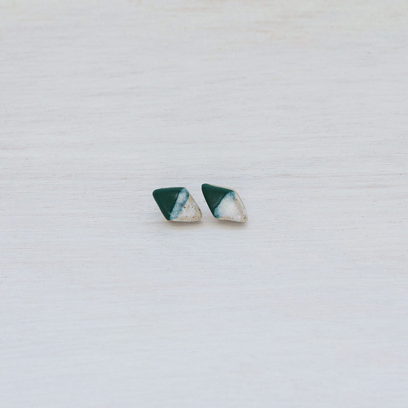 Salted Evergreen Diamond Studs by Woodfolk - Available At Berry Jam Sweet Living