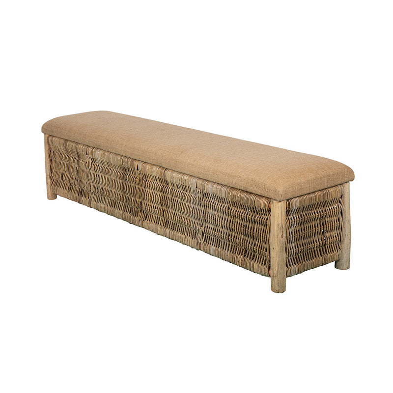 Wicker & Hessian Storage Bench