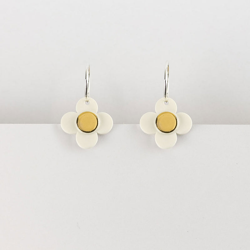 Flower Hoop Earrings White Gold by Erin Lightfoot - Available At Berry Jam Sweet Living