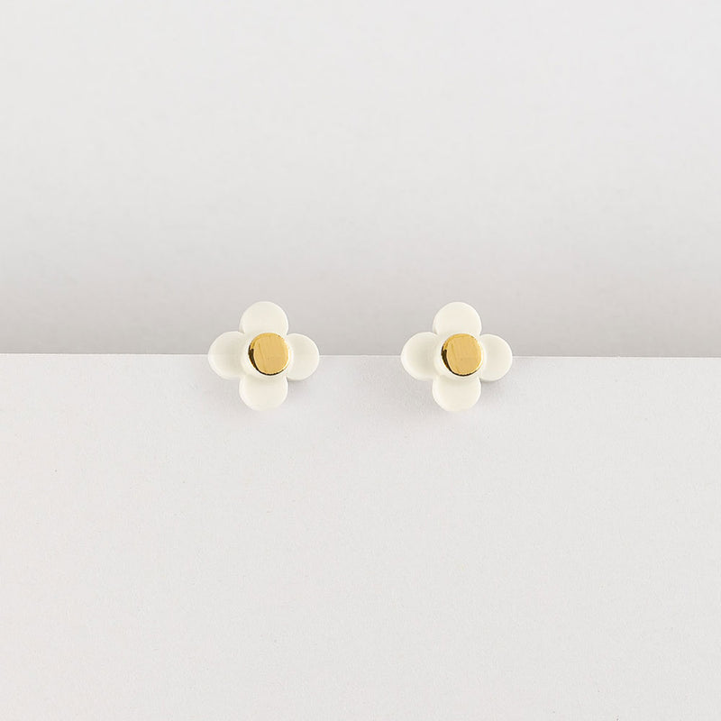 Flower Stud Earrings White Gold by Erin Lightfoot - Available At Berry Jam Sweet Living