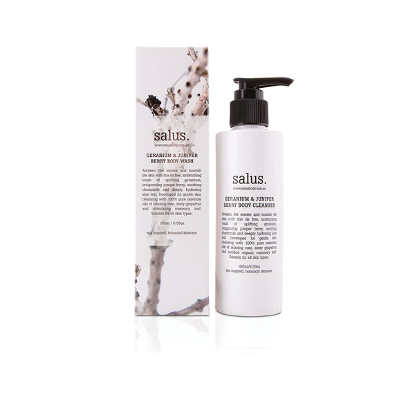 Geranium & Juniper Berry Body Wash 195ml by Salus Body - Available At Berry Jam Sweet Living