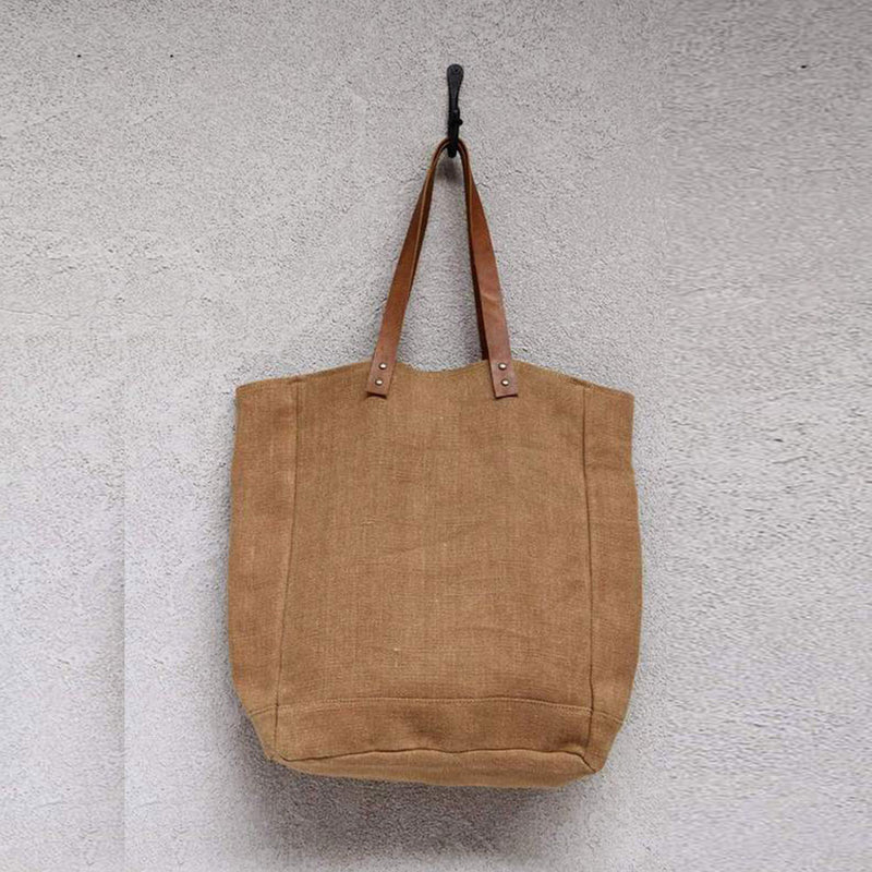 Jute Canvas Tote Camel by Dharma Door - Available At Berry Jam Sweet Living