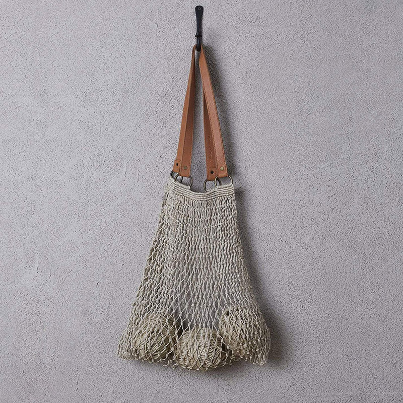 Jute String Bag with Leather Handles by Dharma Door - Available At Berry Jam Sweet Living