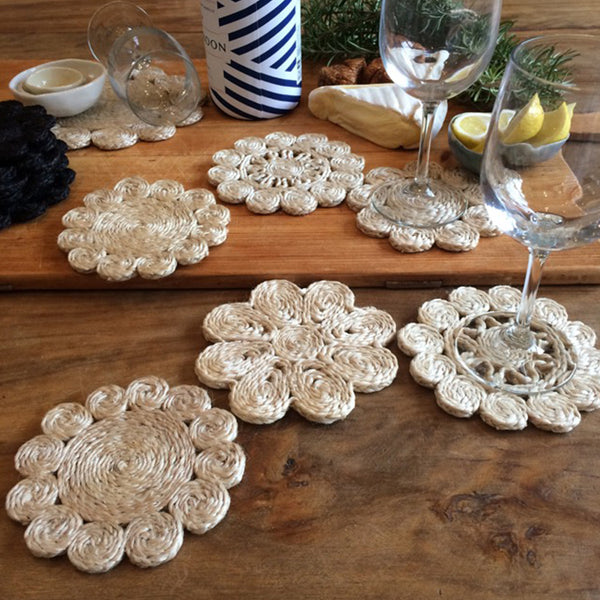 Jute Coaster Retro Set 6 Natural by Carnival Homewares - Available At Berry Jam Sweet Living