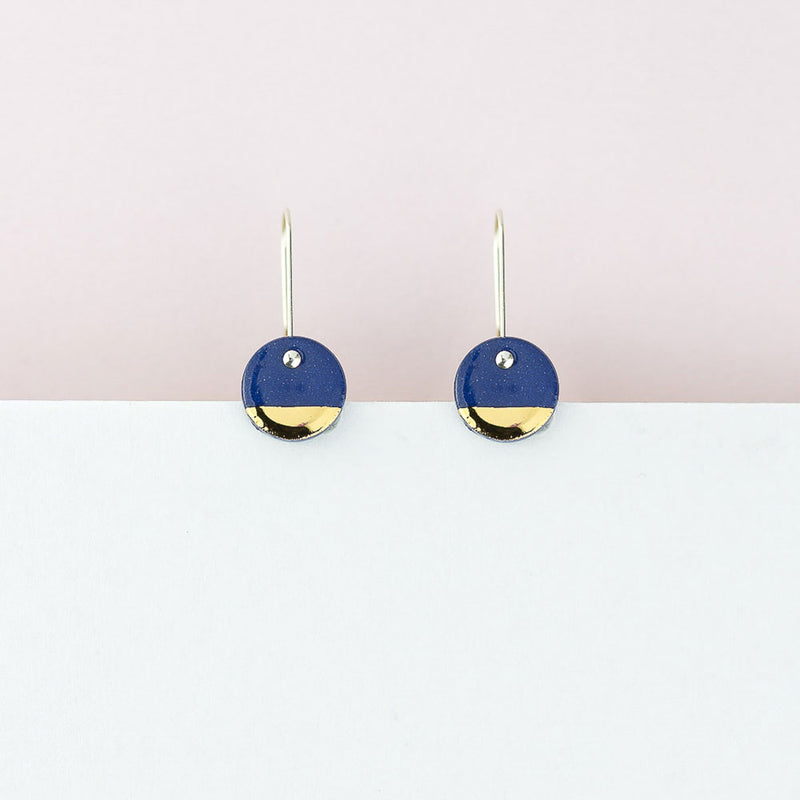Blue Gold Spots Earring Hoops by Erin Lightfoot - Available At Berry Jam Sweet Living
