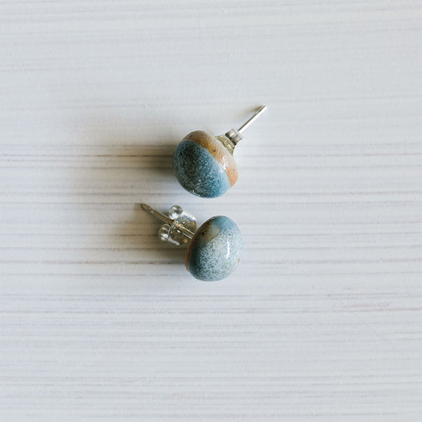 Shimmer Blue Ceramic Acorn Studs by Woodfolk - Available At Berry Jam Sweet Living
