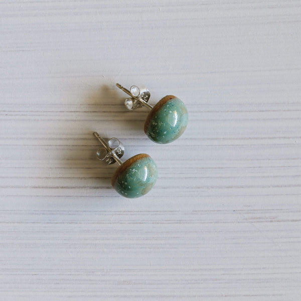 Eucalyptus Ceramic Acorn Studs by Woodfolk - Available At Berry Jam Sweet Living