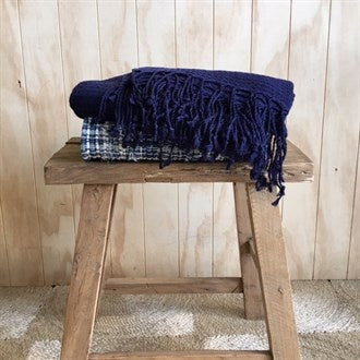Throw Linen/Cotton Navy Waffle Weave
