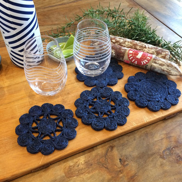 Jute Coaster Retro Set 6 Indigo by Carnival Homewares - Available At Berry Jam Sweet Living