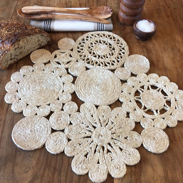 Jute Placemat Retro Natural by Carnival Homewares - Available At Berry Jam Sweet Living