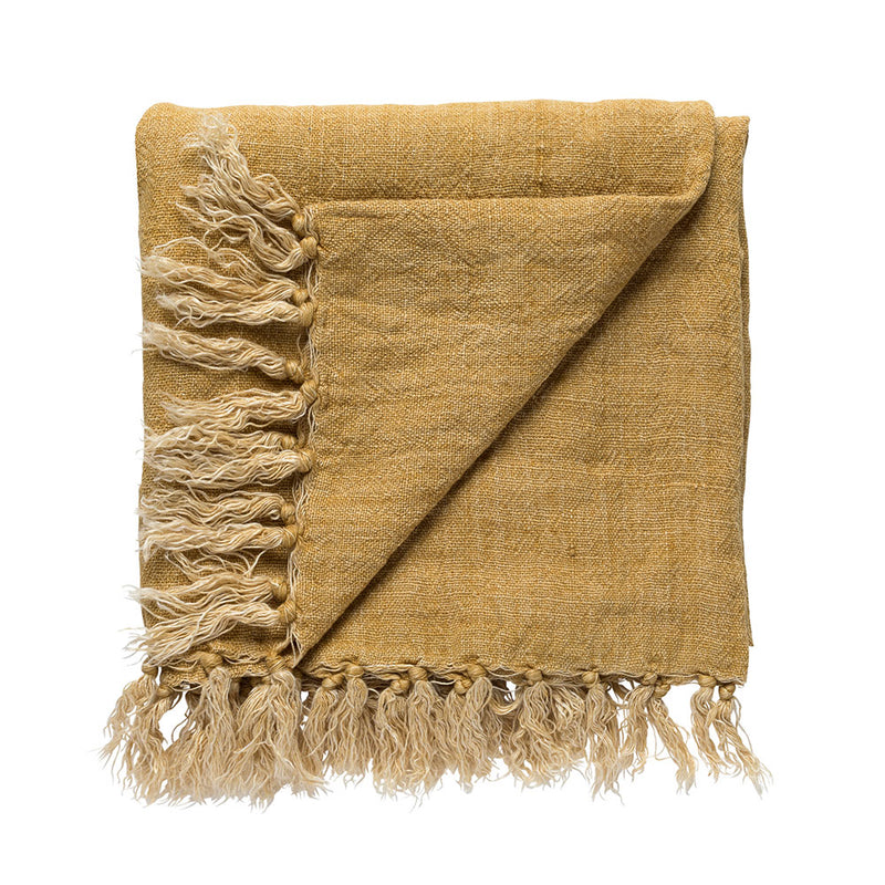 Burton Linen Throw Ochre by L&M Home - Available At Berry Jam Sweet Living