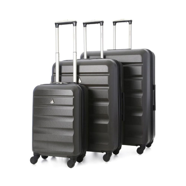 Aerolite Charcoal Lightweight 4 Wheel ABS Hard Shell Luggage Suitcase Travel Trolley Cases