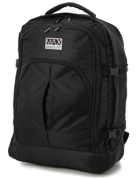 Aerolite Max Carry On Backpack 55x40x20  Black Ryanair EasyJet