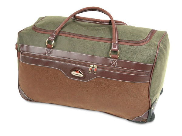 Compass 60L Wheeled Holdall Travel Bag Trolley Cases Luggage Duffle - Olive Tan