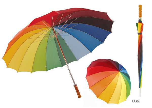 Drizzles 16 Panel Rainbow Golf Walking Length Long Umbrella