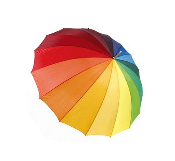 DUA Deluxe Large Gents Ladies Golf Walking Umbrella Rainbow