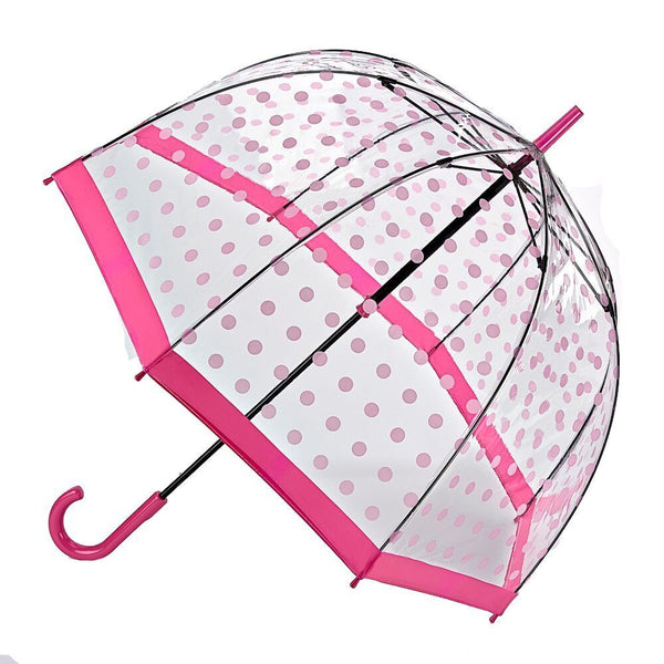 Fulton Birdcage Ladies Walking Length Dome Umbrella Pink Polka