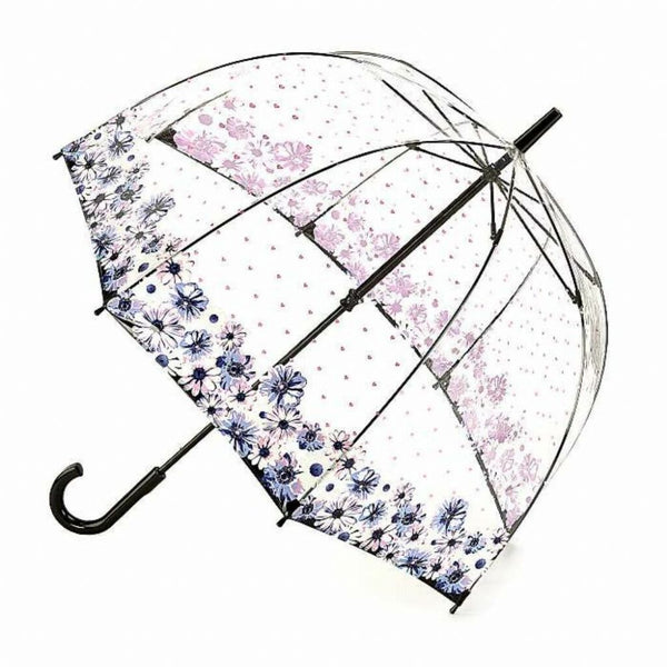 Fulton Birdcage Pink Polka dots & Floral Dome Walking Length Umbrella Flower Love