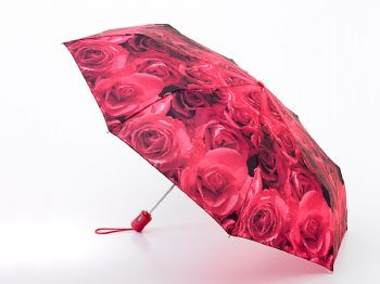 Fulton Ladies Automatic Open & Close- 4 Umbrella Photo Roses Red