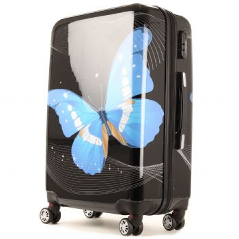 Highbury Flutter Hard Shell Four Wheel Luggage Cases Various Prints