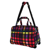 Highbury Lightweight Cabin Wheeled Travel Holdall Wheeled Bag with Strap Multi Box Print